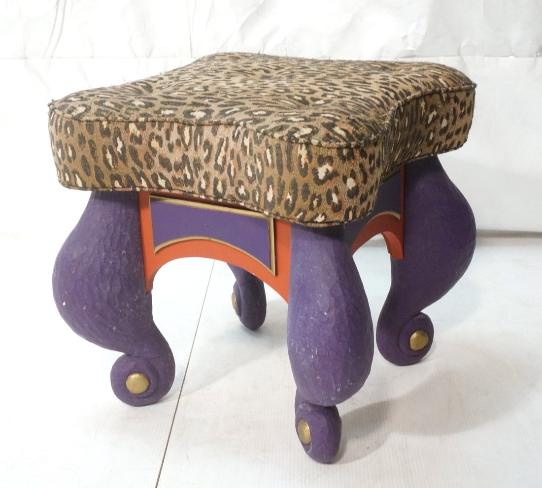 B. LEADER Signed Carved Wood Fantasy Stool Ottoma