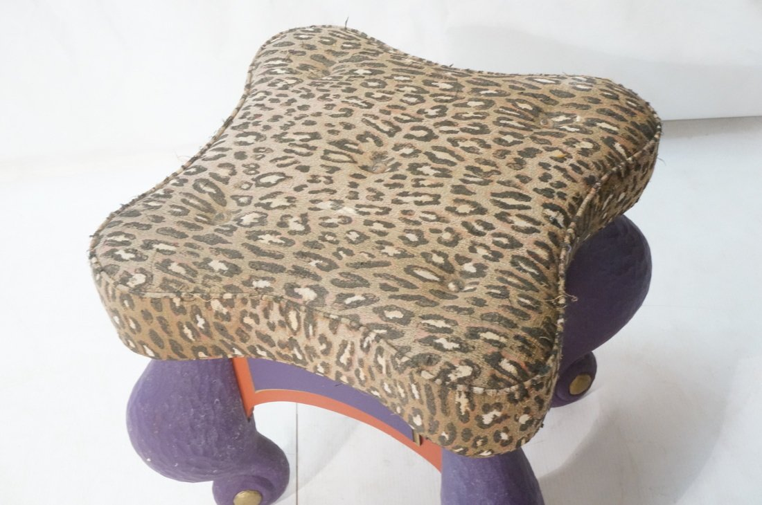 B. LEADER Signed Carved Wood Fantasy Stool Ottoma - 2