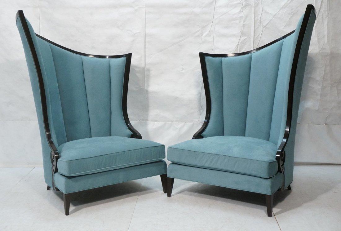 Pr Decorator Oversized Ebonized Chairs. Dramatic