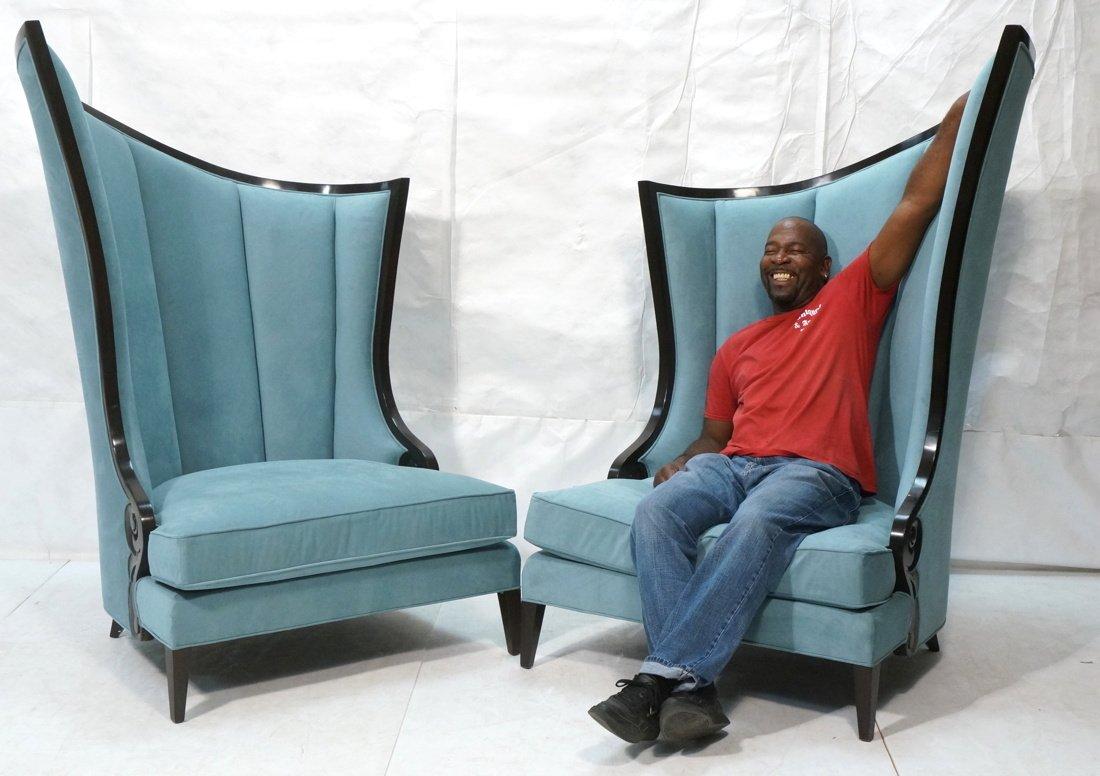Pr Decorator Oversized Ebonized Chairs. Dramatic - 2