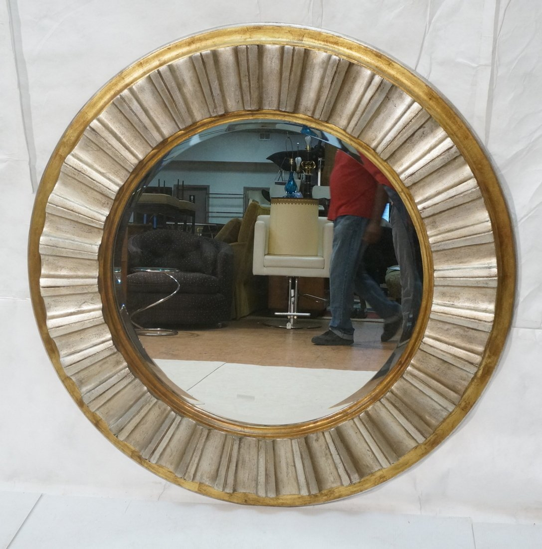 Large Round Beveled Glass Mirror. Metallic finish