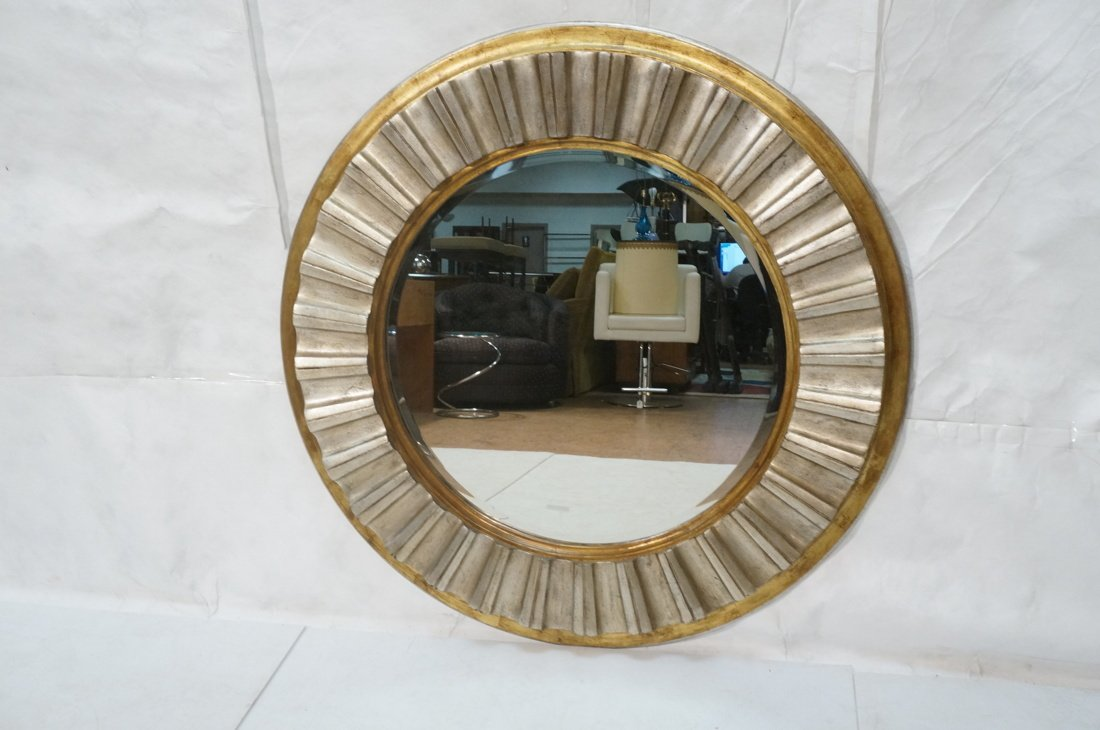 Large Round Beveled Glass Mirror. Metallic finish - 2