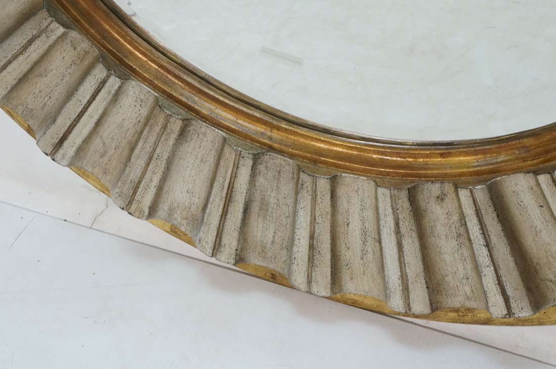 Large Round Beveled Glass Mirror. Metallic finish - 5