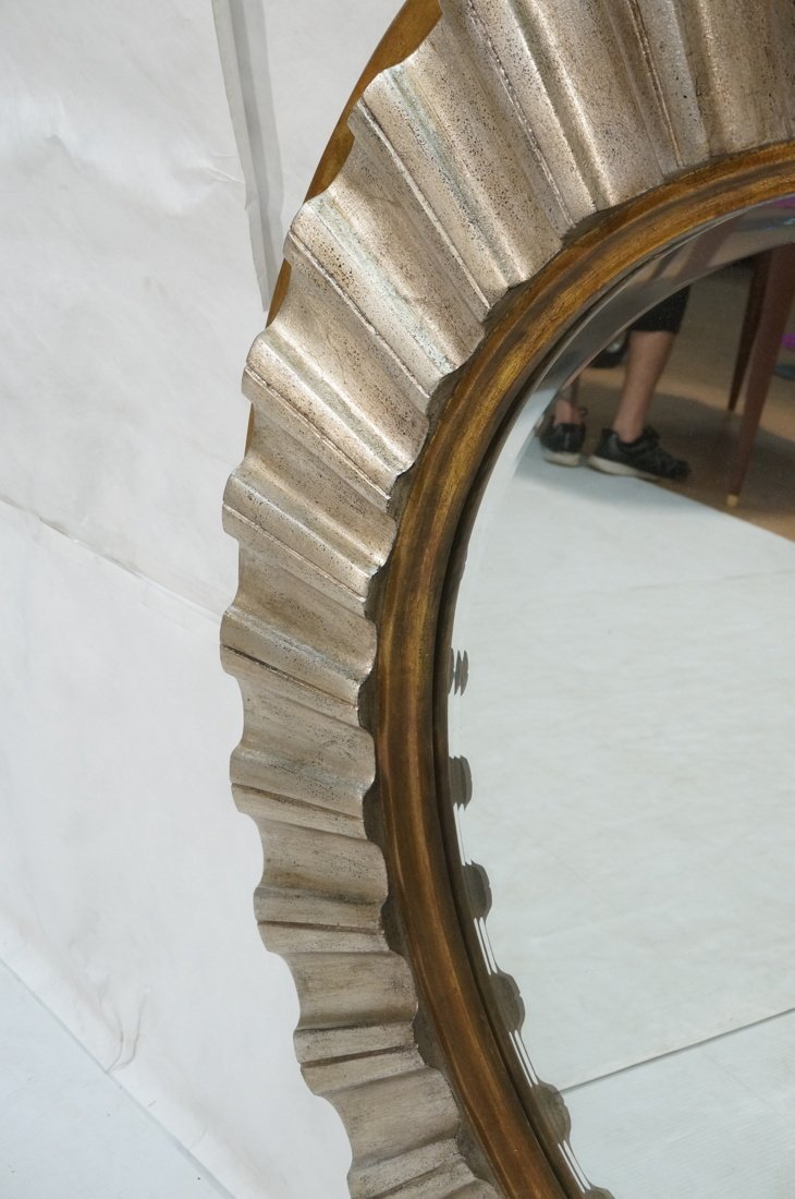 Large Round Beveled Glass Mirror. Metallic finish - 9