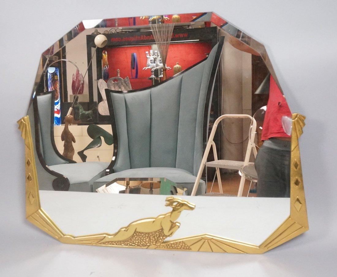 Brass Art Deco style Wall Mirror. Stylized deco f