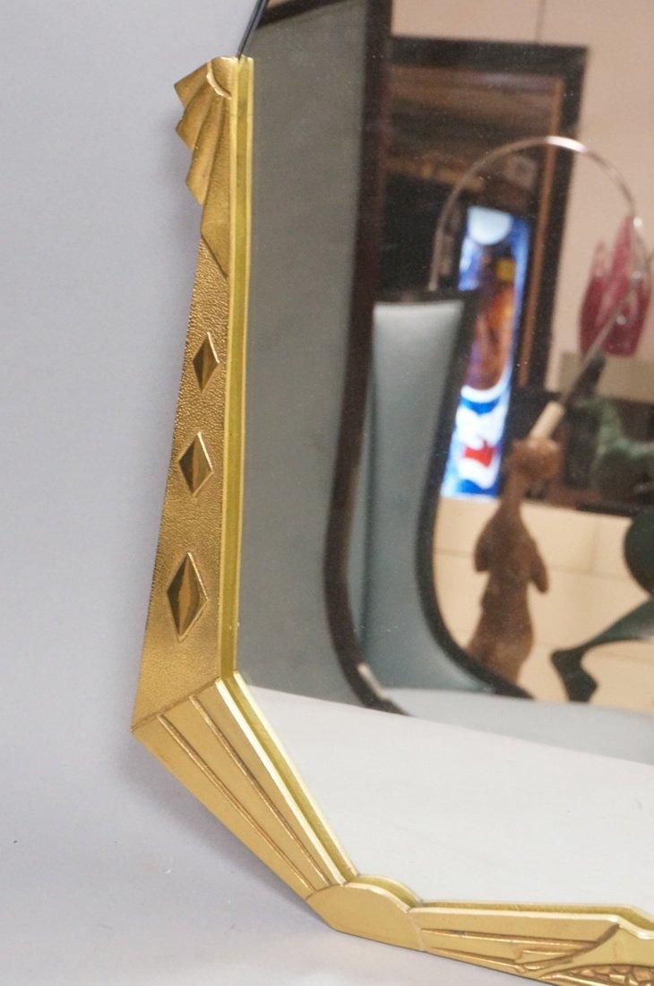 Brass Art Deco style Wall Mirror. Stylized deco f - 4