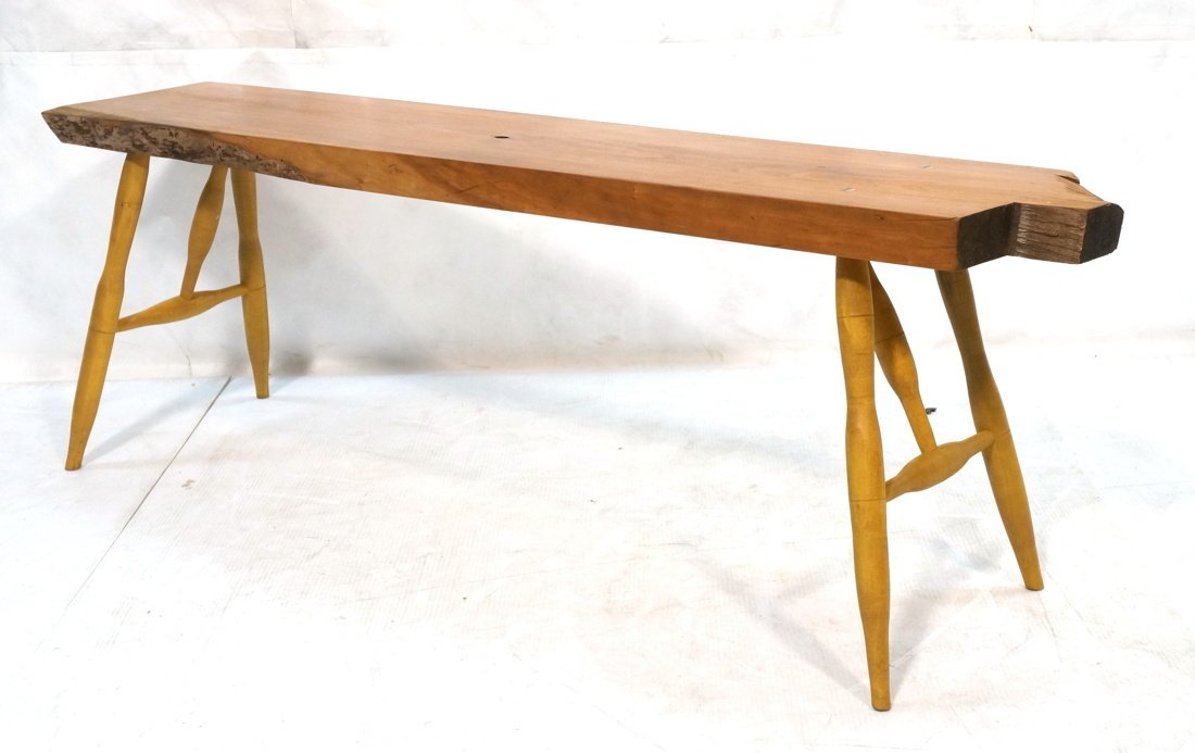 TOM FERRIE Natural Cherry Slab Bench. One raw fre