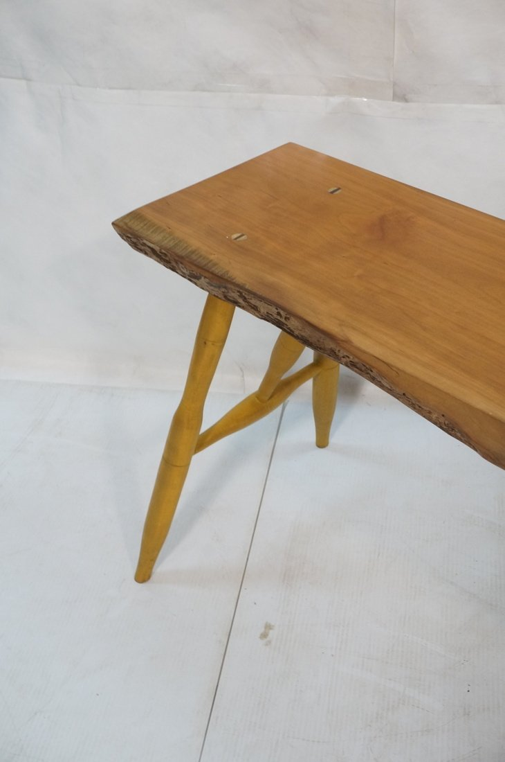 TOM FERRIE Natural Cherry Slab Bench. One raw fre - 3