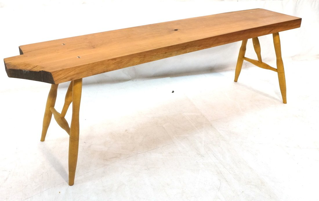 TOM FERRIE Natural Cherry Slab Bench. One raw fre - 8