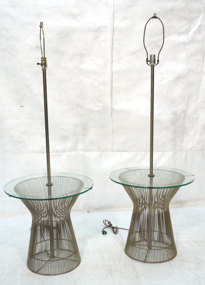 Pr WARREN PLATNER style Lamp Tables. Chromed rod