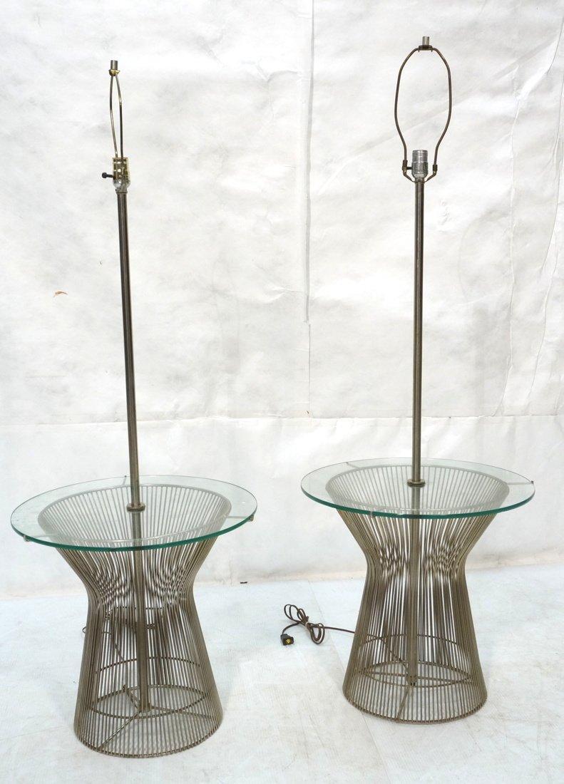 Pr WARREN PLATNER style Lamp Tables. Chromed rod