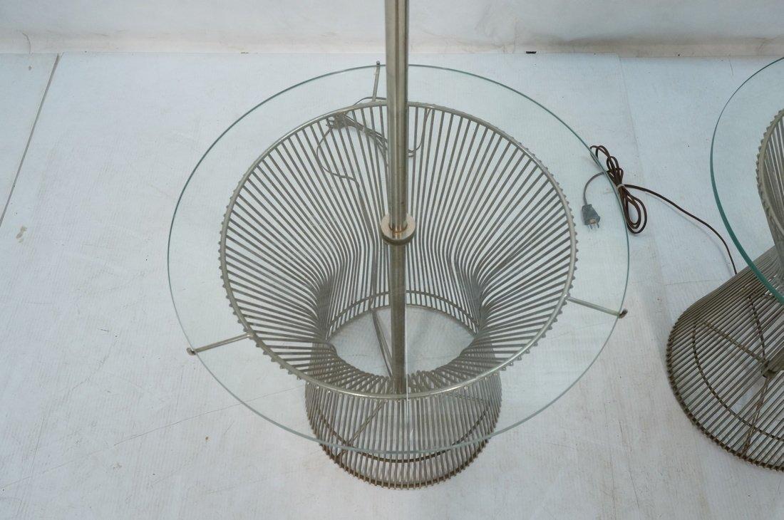 Pr WARREN PLATNER style Lamp Tables. Chromed rod - 4