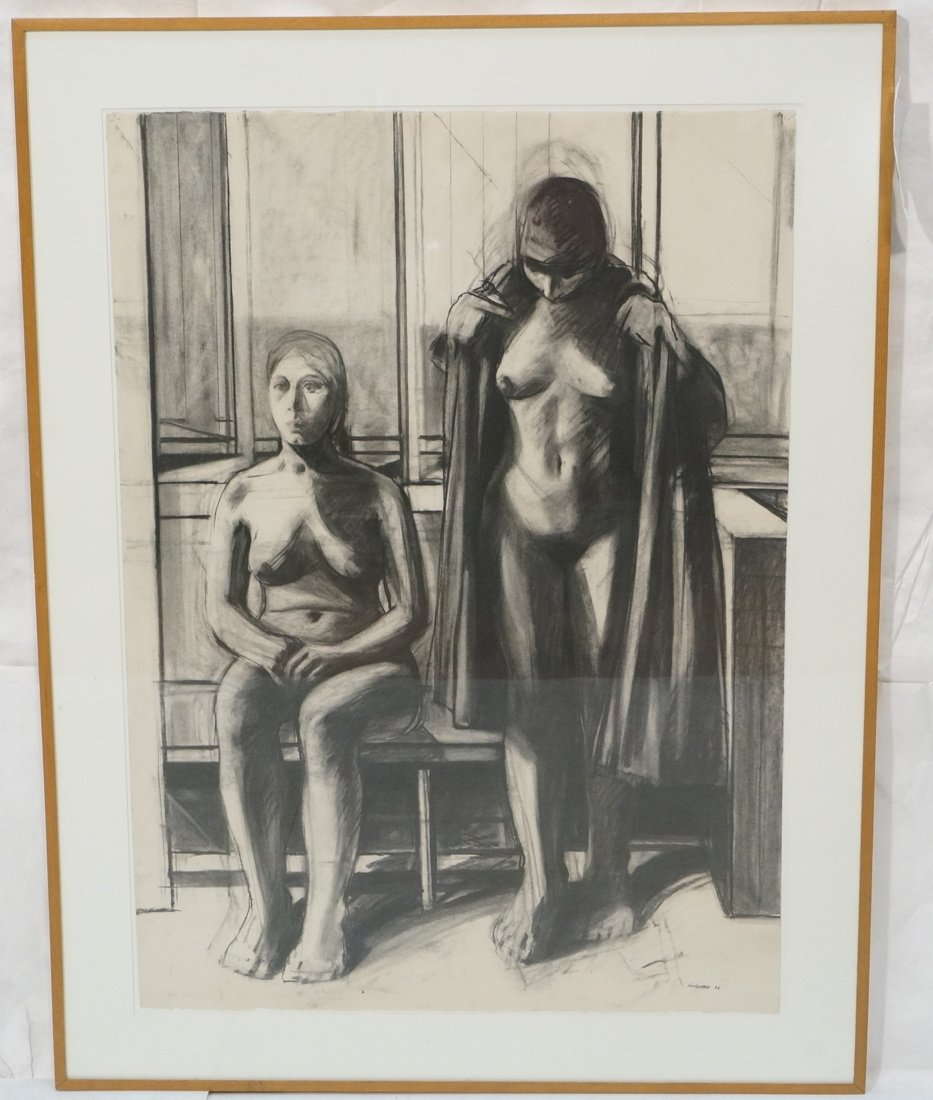 "SIDNEY GOODMAN Charcoal Drawing. ""Two Women"" Two"