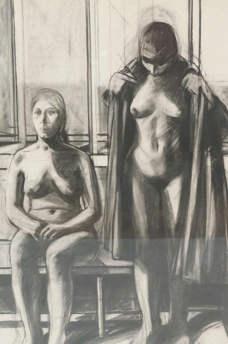 "SIDNEY GOODMAN Charcoal Drawing. ""Two Women"" Two - 2"