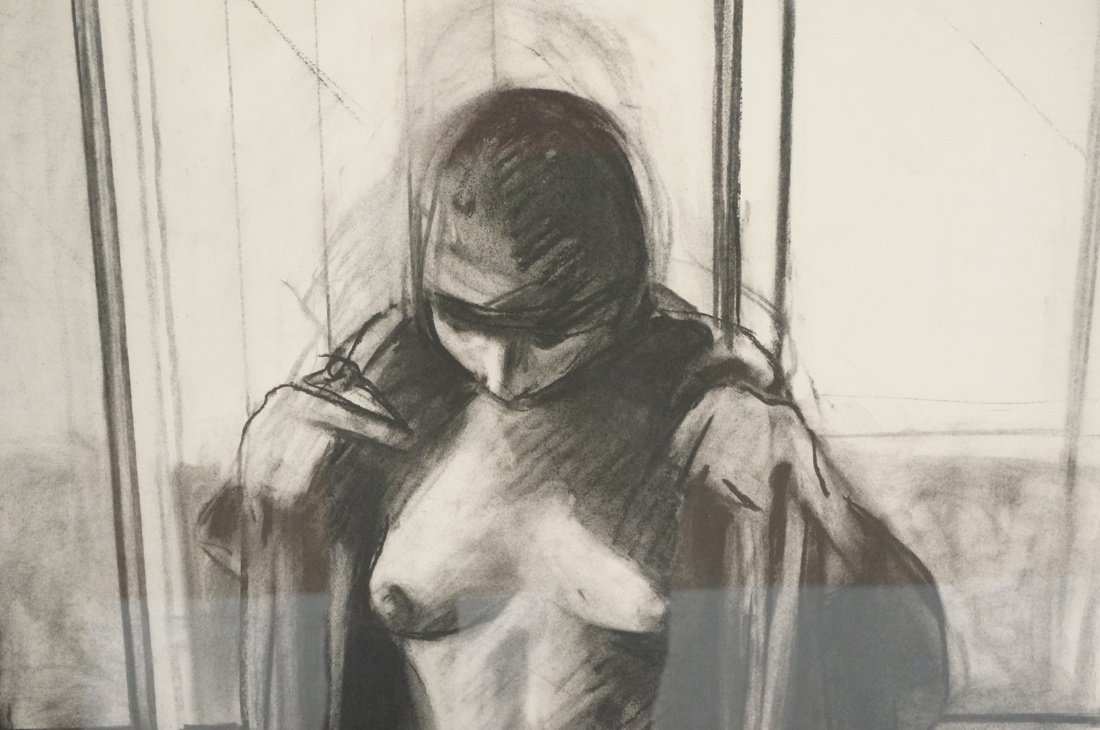 "SIDNEY GOODMAN Charcoal Drawing. ""Two Women"" Two - 3"