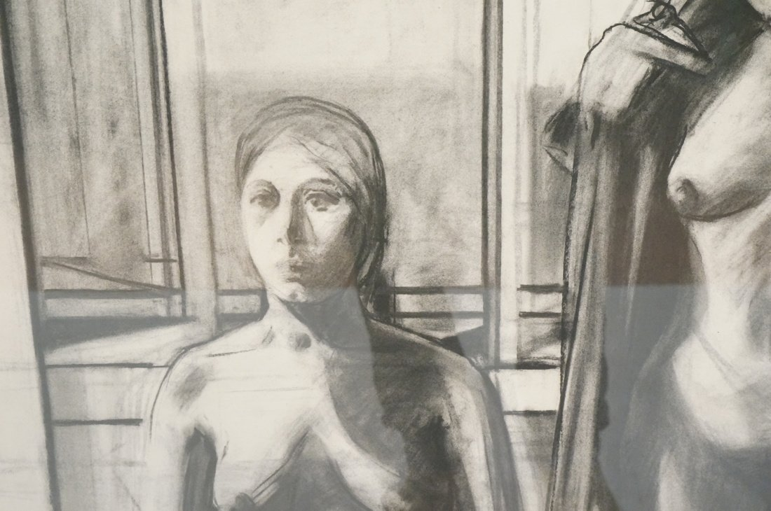 "SIDNEY GOODMAN Charcoal Drawing. ""Two Women"" Two - 5"