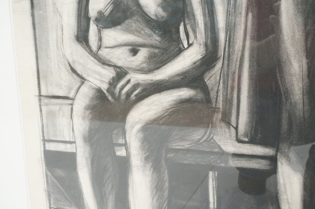 "SIDNEY GOODMAN Charcoal Drawing. ""Two Women"" Two - 7"