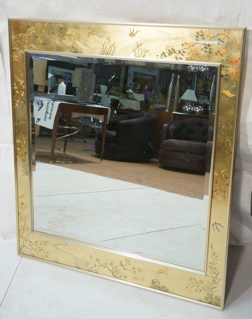 LA BARGE Eglomise Framed Mirror. Asian design wit