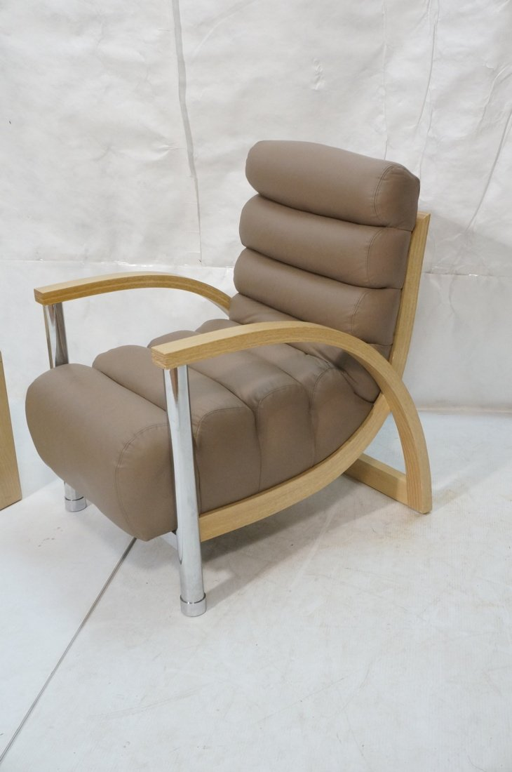2pc JAY SPECTRE Leather Arm Lounge Chair & Side T - 3