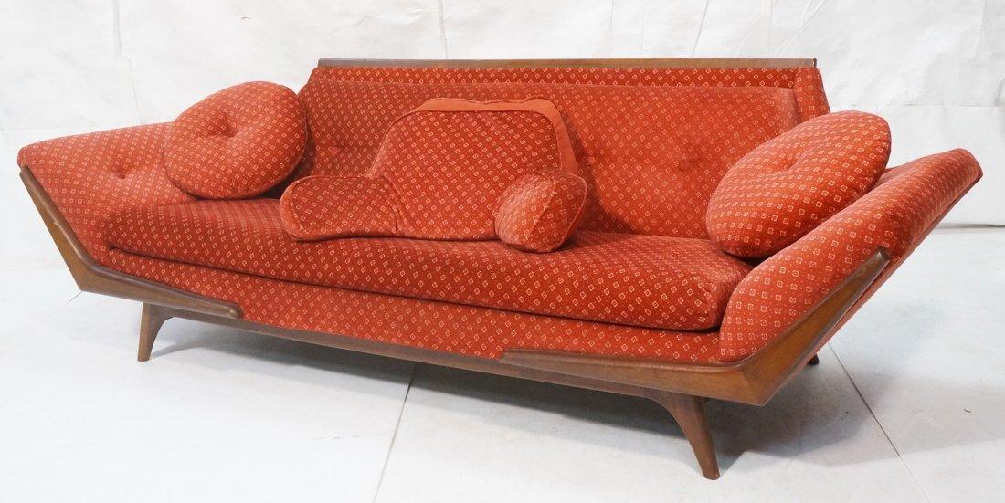 ADRIAN PEARSALL Long Walnut Sofa Couch. Walnut tr