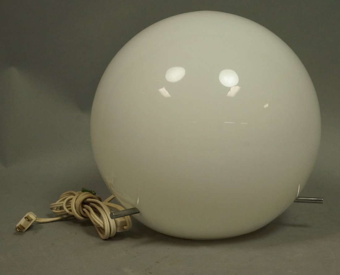 Round Glass Globe Table Lamp. Three chromed metal