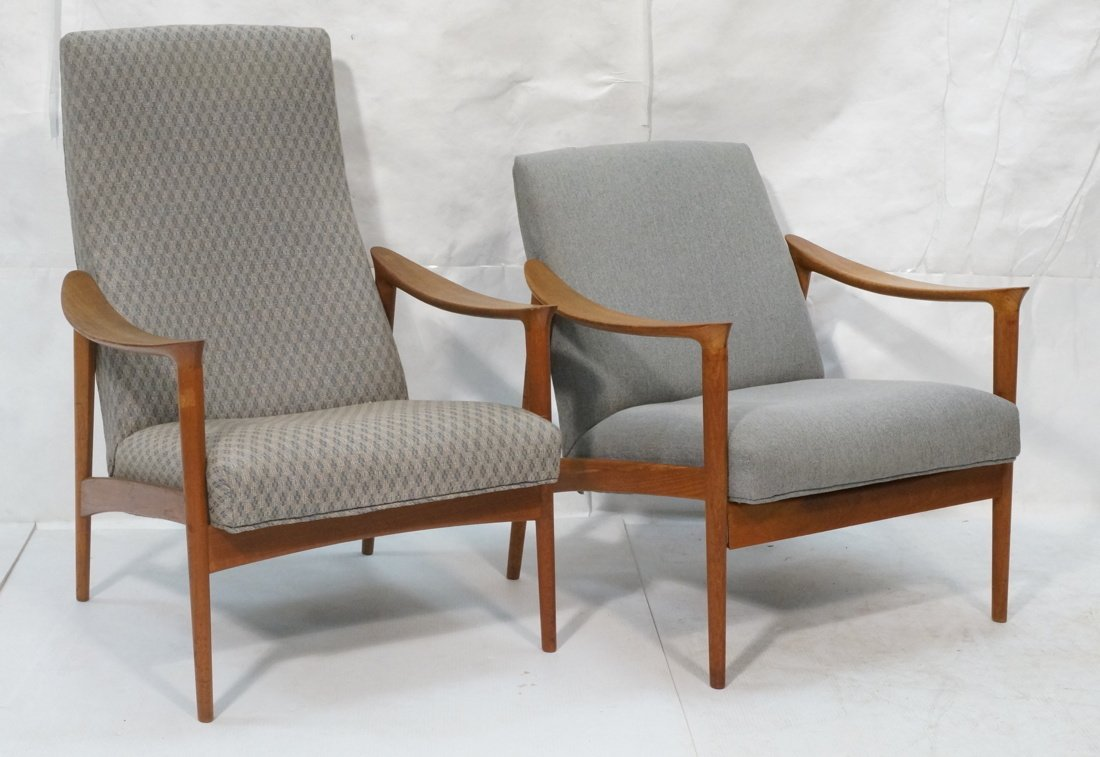 Pr Danish Teak Bowed Paddle Arm Lounge Chairs. Hi