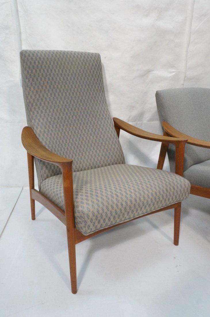 Pr Danish Teak Bowed Paddle Arm Lounge Chairs. Hi - 2