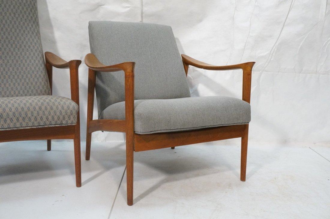 Pr Danish Teak Bowed Paddle Arm Lounge Chairs. Hi - 3