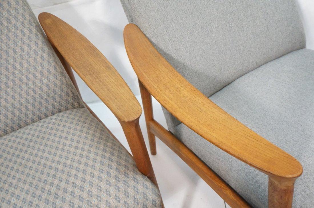 Pr Danish Teak Bowed Paddle Arm Lounge Chairs. Hi - 4