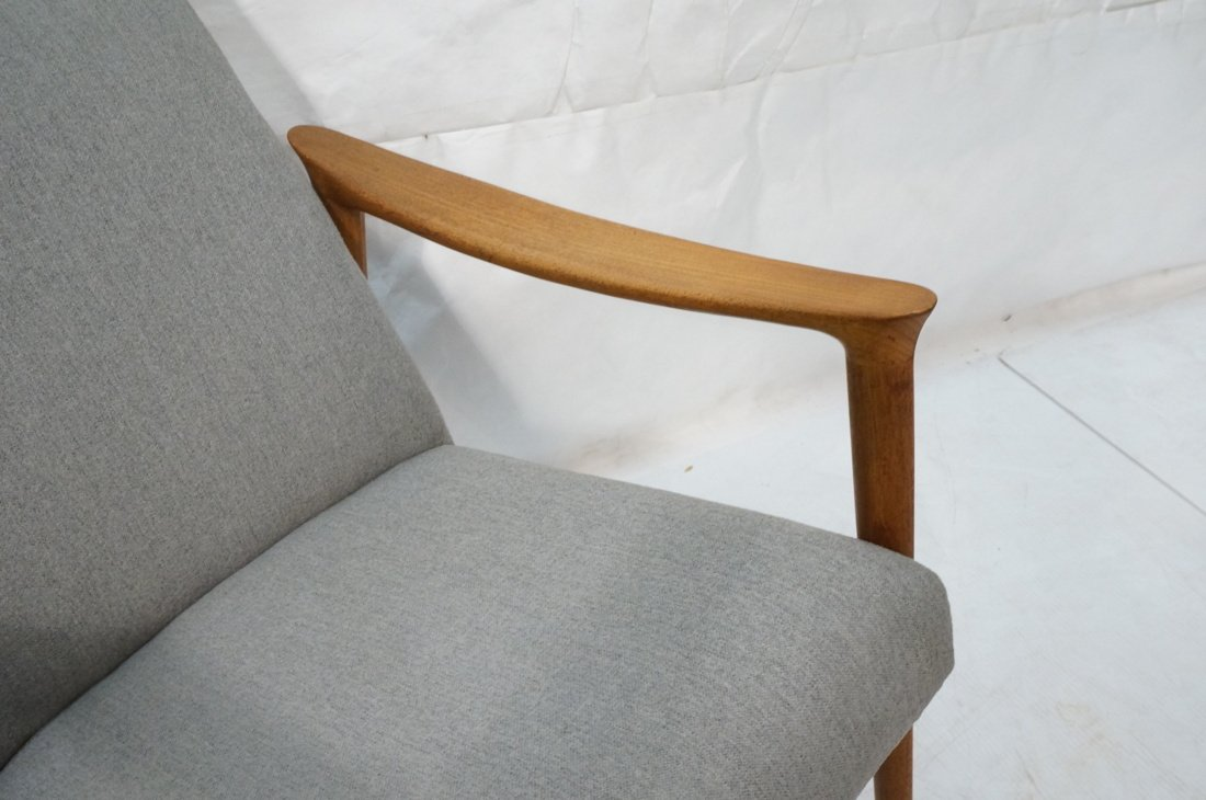 Pr Danish Teak Bowed Paddle Arm Lounge Chairs. Hi - 5