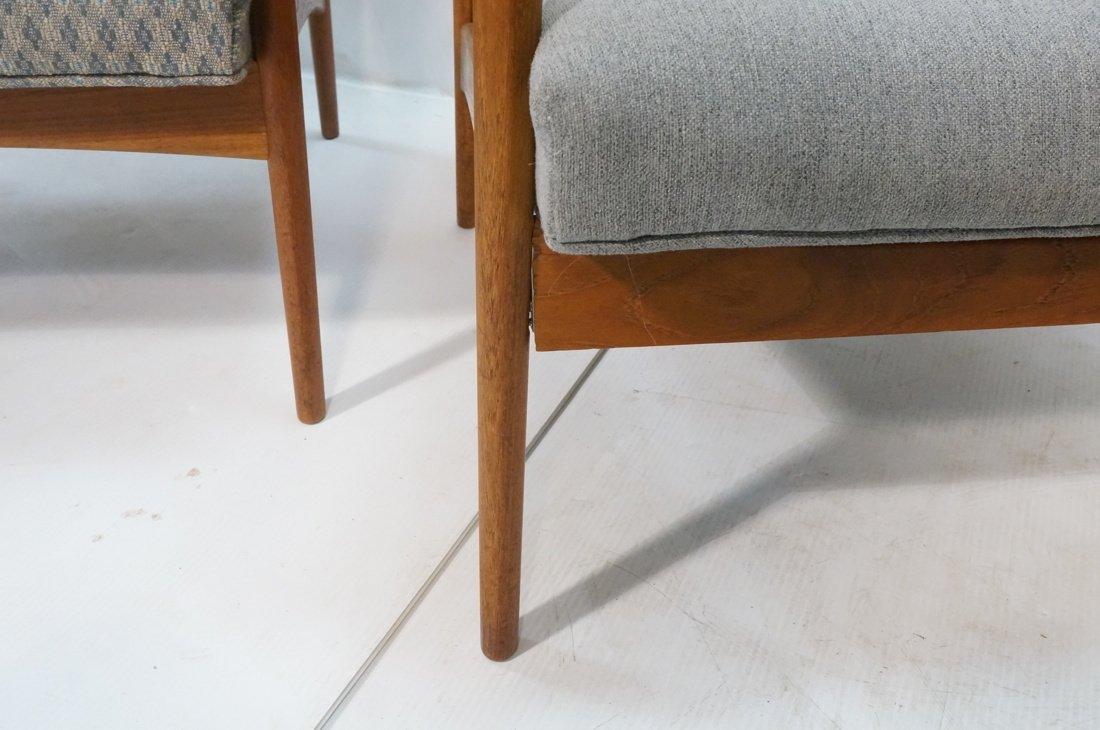 Pr Danish Teak Bowed Paddle Arm Lounge Chairs. Hi - 7