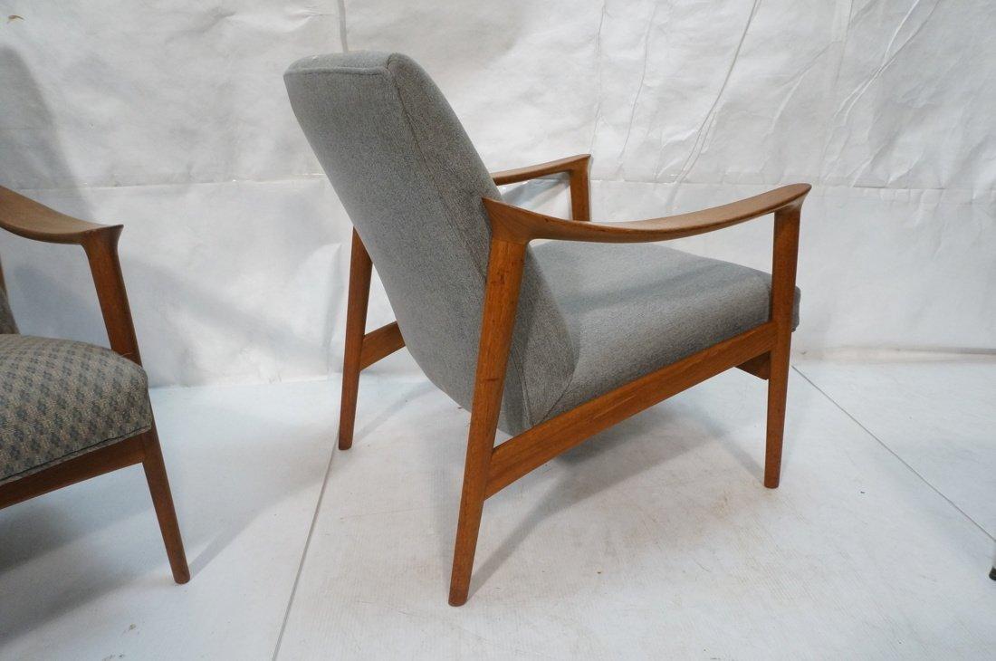 Pr Danish Teak Bowed Paddle Arm Lounge Chairs. Hi - 8