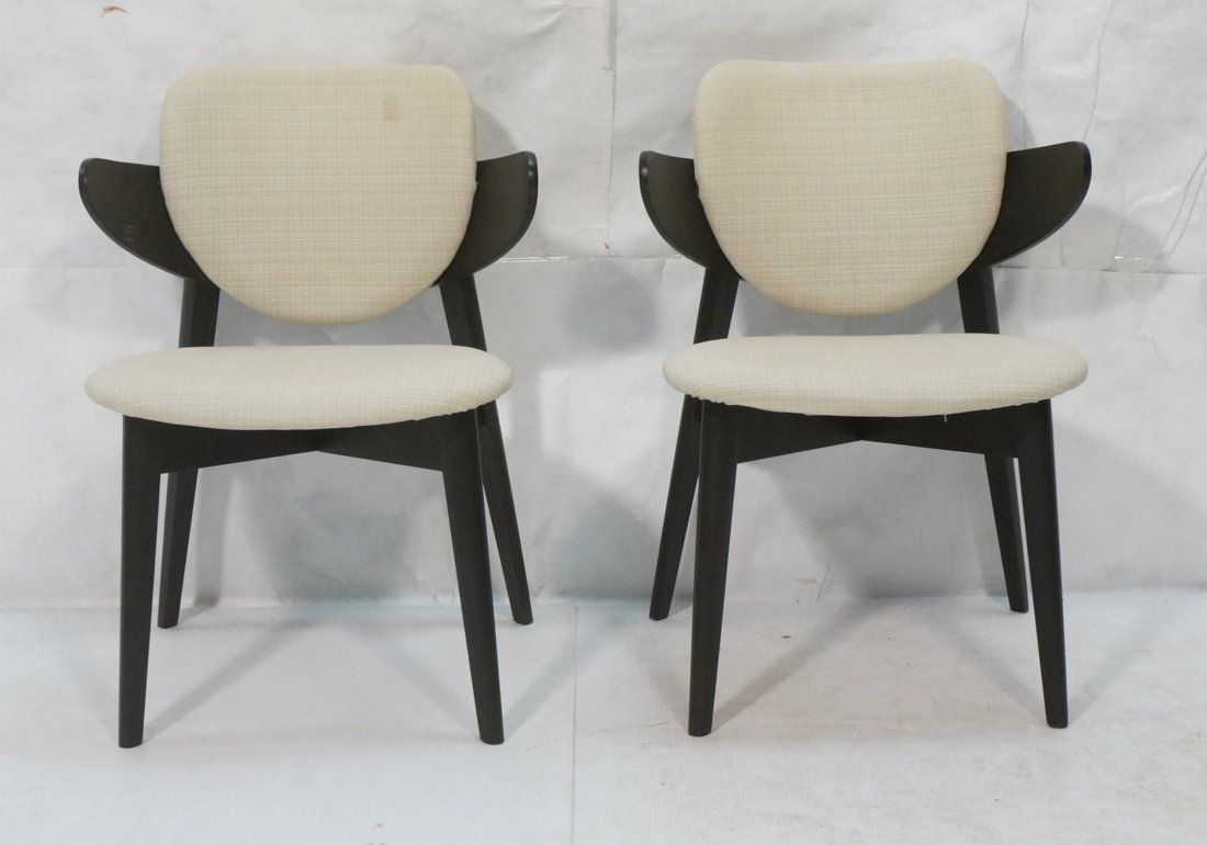 Pr Ebonized Side Arm Chairs. Laminated wood curve