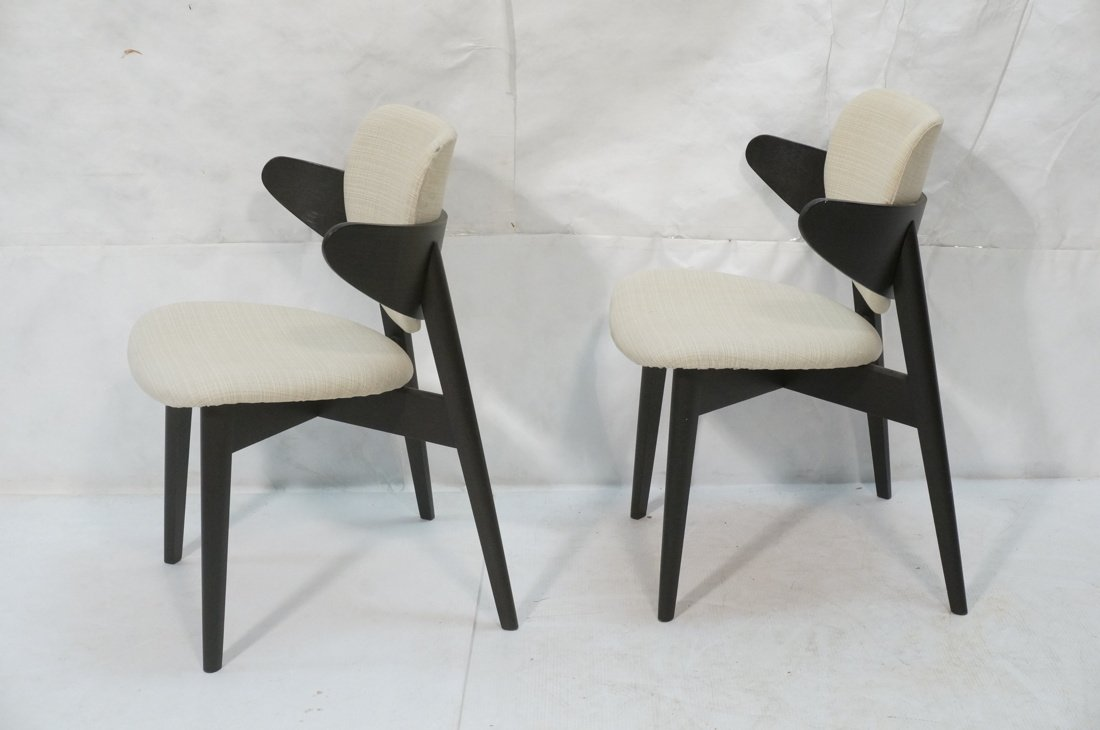Pr Ebonized Side Arm Chairs. Laminated wood curve - 6