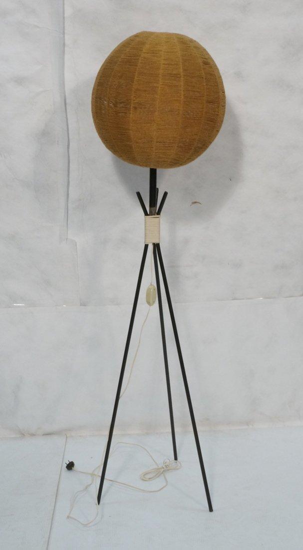 Modernist Three legged Black Iron Floor Lamp. Wov