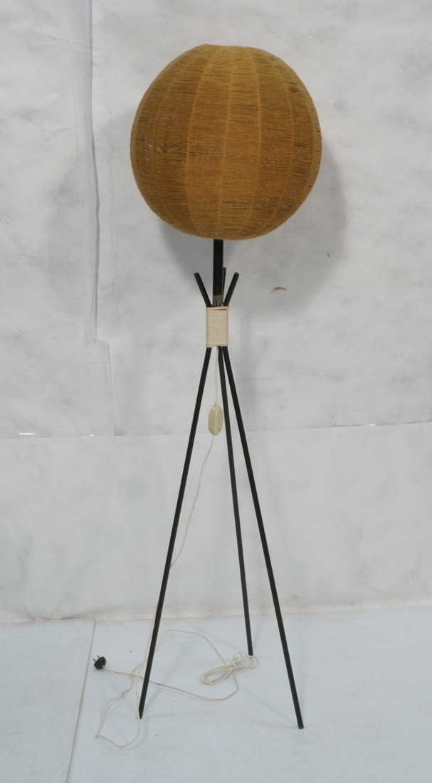 Modernist Three legged Black Iron Floor Lamp. Wov