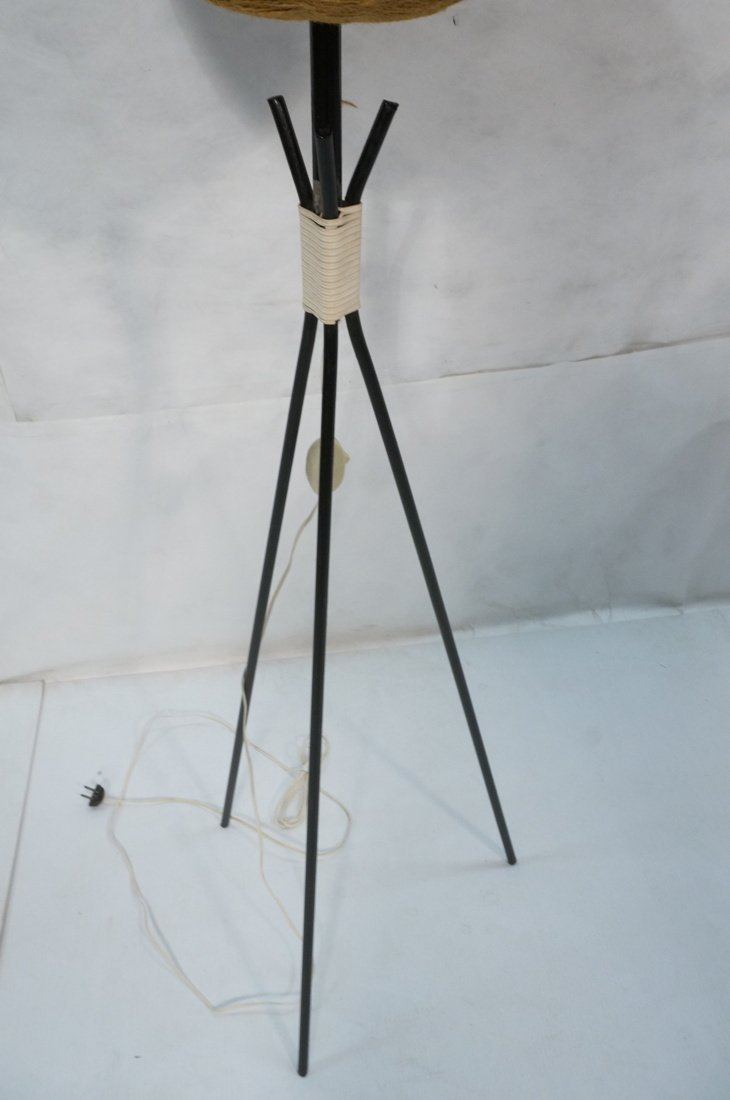 Modernist Three legged Black Iron Floor Lamp. Wov - 6