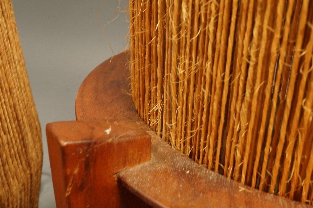 2pc Woven Fiber Modernist Lamps. Tall woven cylin - 10