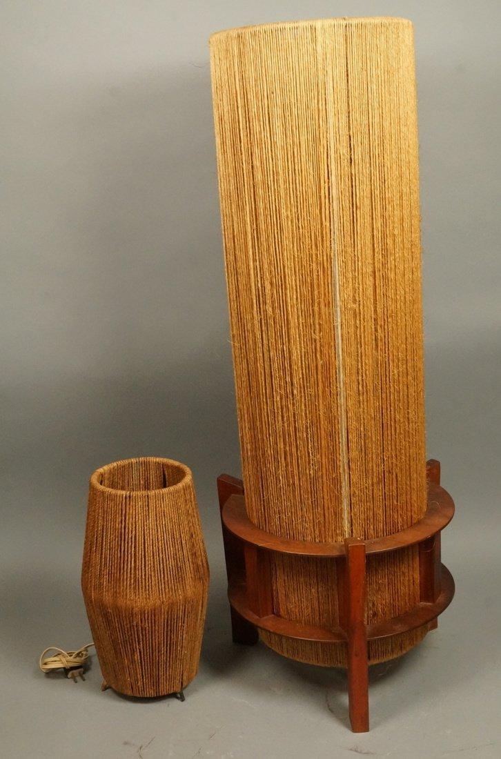 2pc Woven Fiber Modernist Lamps. Tall woven cylin
