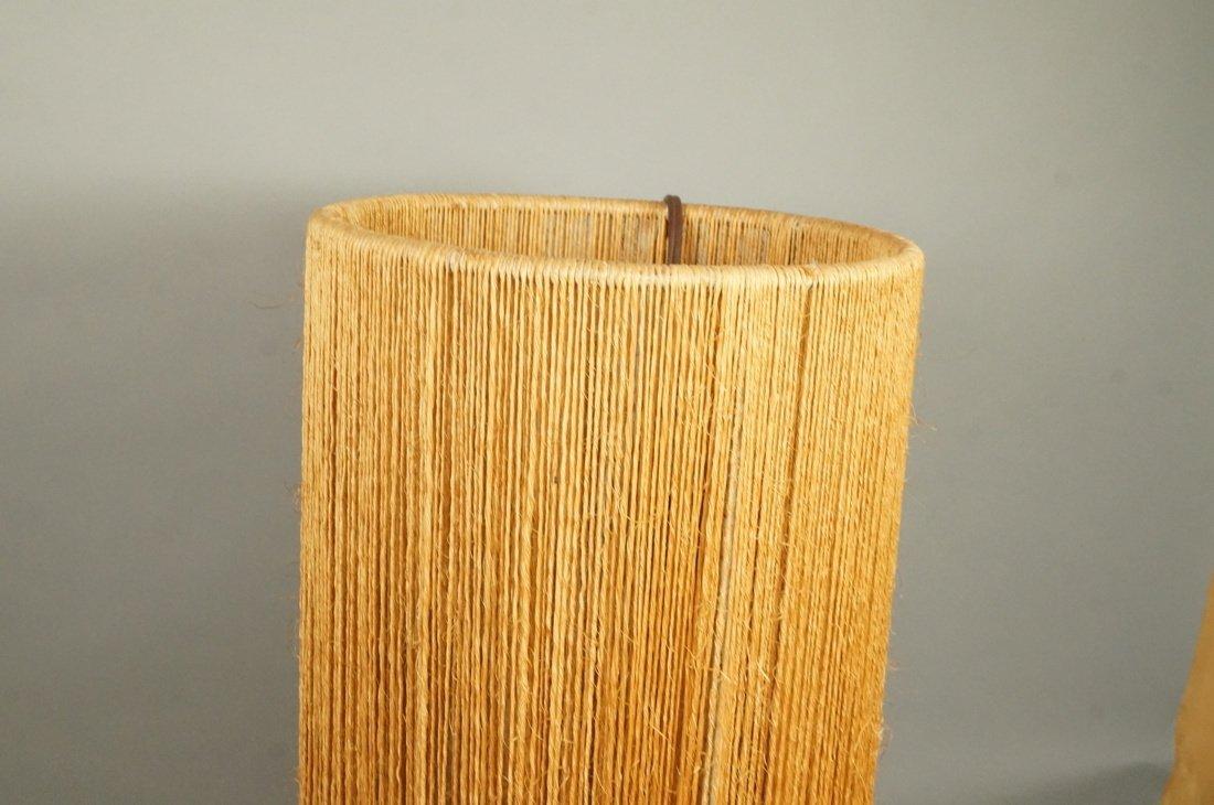 2pc Woven Fiber Modernist Lamps. Tall woven cylin - 3