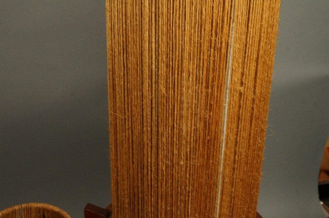 2pc Woven Fiber Modernist Lamps. Tall woven cylin - 4