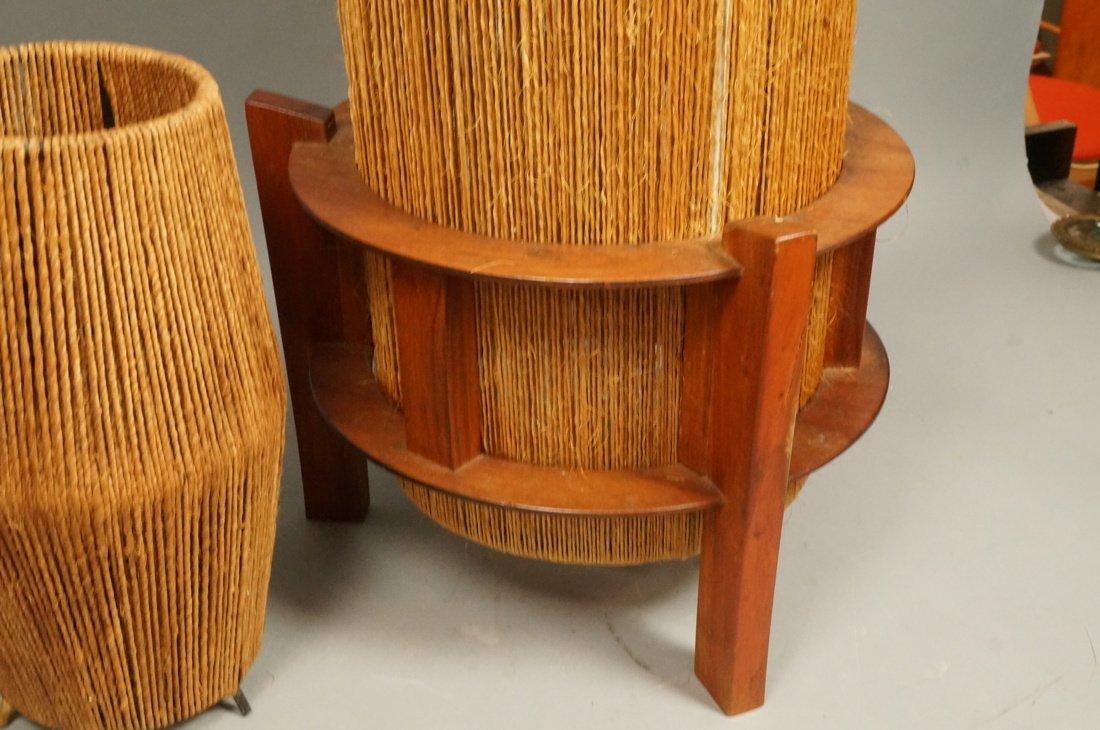 2pc Woven Fiber Modernist Lamps. Tall woven cylin - 5