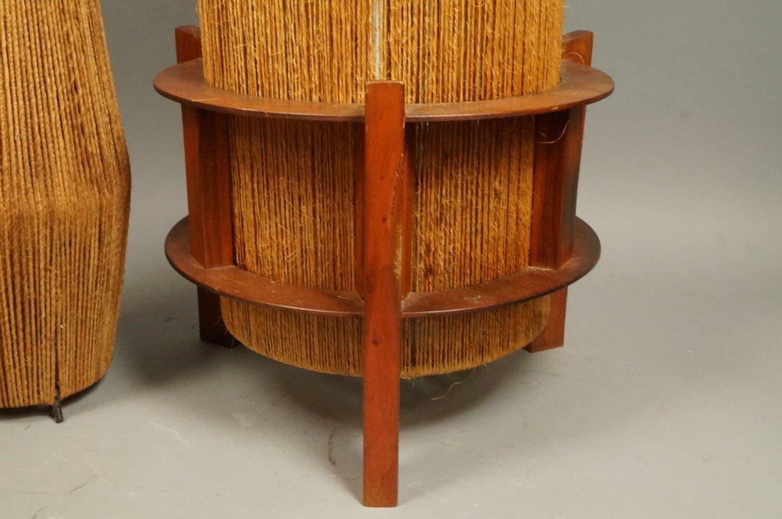 2pc Woven Fiber Modernist Lamps. Tall woven cylin - 6