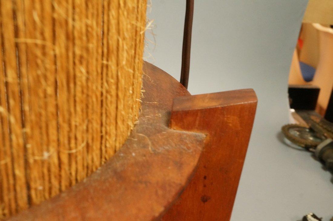 2pc Woven Fiber Modernist Lamps. Tall woven cylin - 9