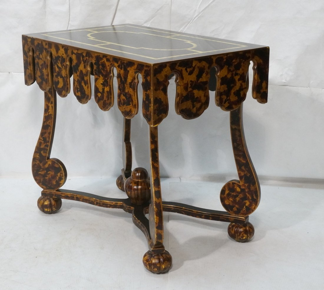 Faux Finish Tortoise painted Side Table. Art Deco