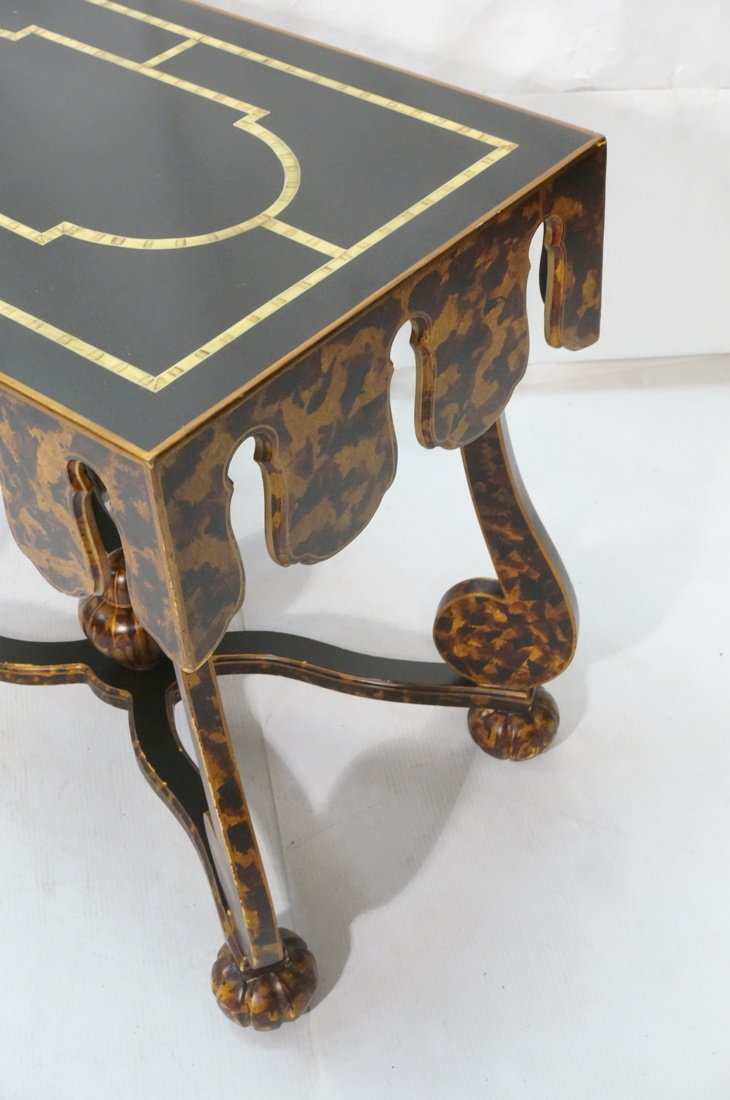 Faux Finish Tortoise painted Side Table. Art Deco - 2