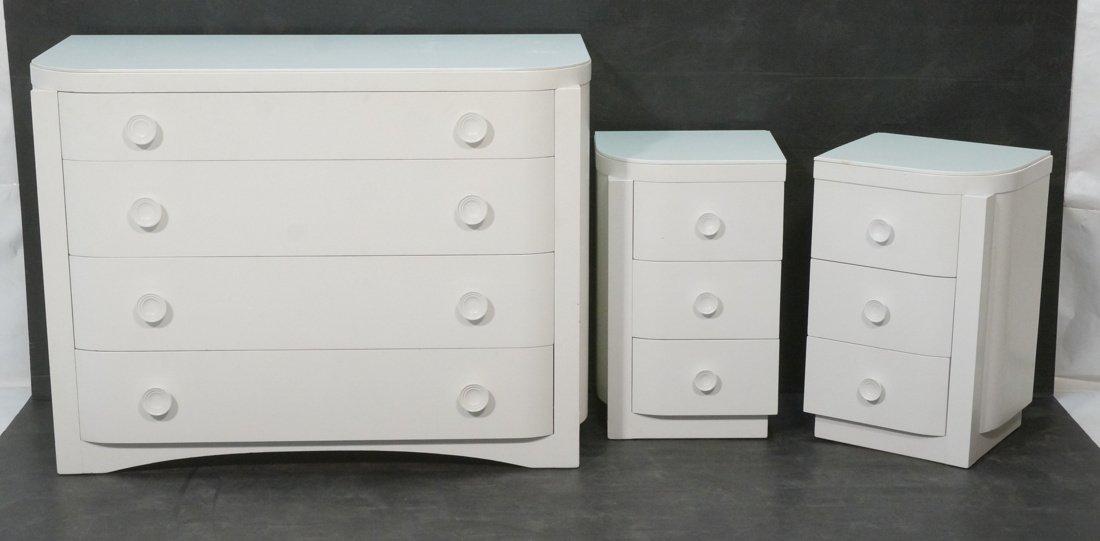 3pc Bedroom Set. Art Deco style set painted white