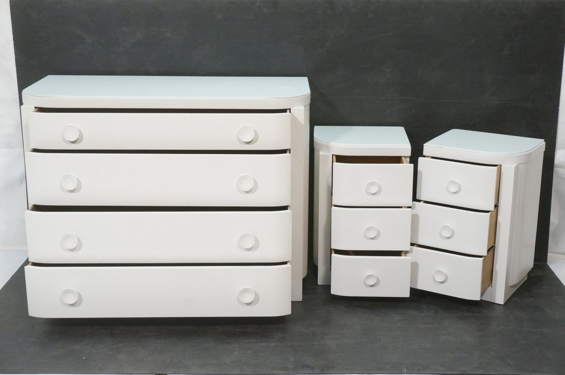 3pc Bedroom Set. Art Deco style set painted white - 2