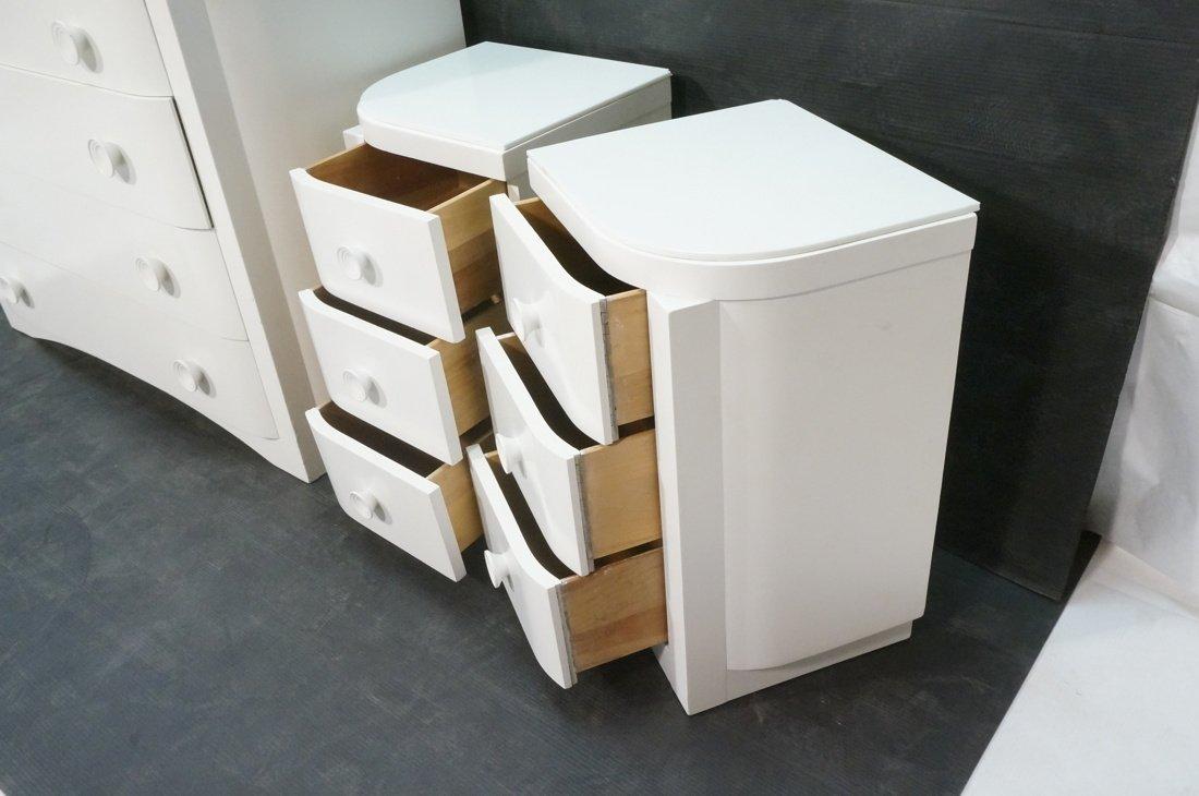 3pc Bedroom Set. Art Deco style set painted white - 3