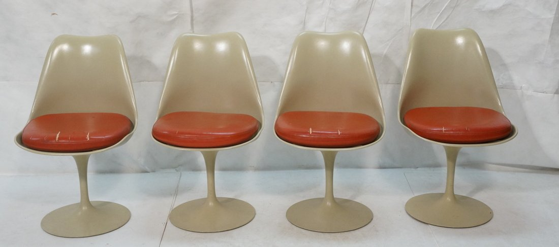 Set 4 KNOLL Eero SAARINEN Tulip Dining Chairs. Al